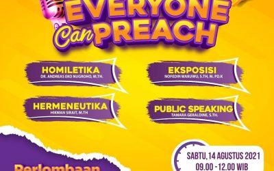 """Seminar """"EVERYONE CAN PREACH"""", Sabtu 14 Agustus 2021. Terbuka untuk umum, segera daftar."""